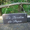 Engraved Slate Fathers Day Garden Sign in French for Papa