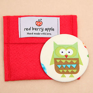 Owl Or Apple Handbag Mirror With Pouch - children's room accessories