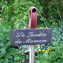 Engraved Slate Garden Sign for Mum in French
