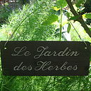Engraved Slate Garden Sign In French