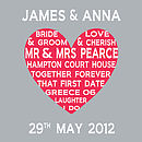 Personalised Wedding Heart - Light  Grey and Red