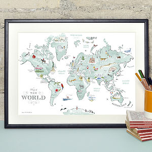 Alice Tait 'Illustrated World Map' Print - personalised