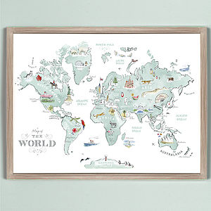 Alice Tait 'Illustrated World Map' Large Print