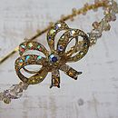 Vintage Golden Bow Crystal Tiara