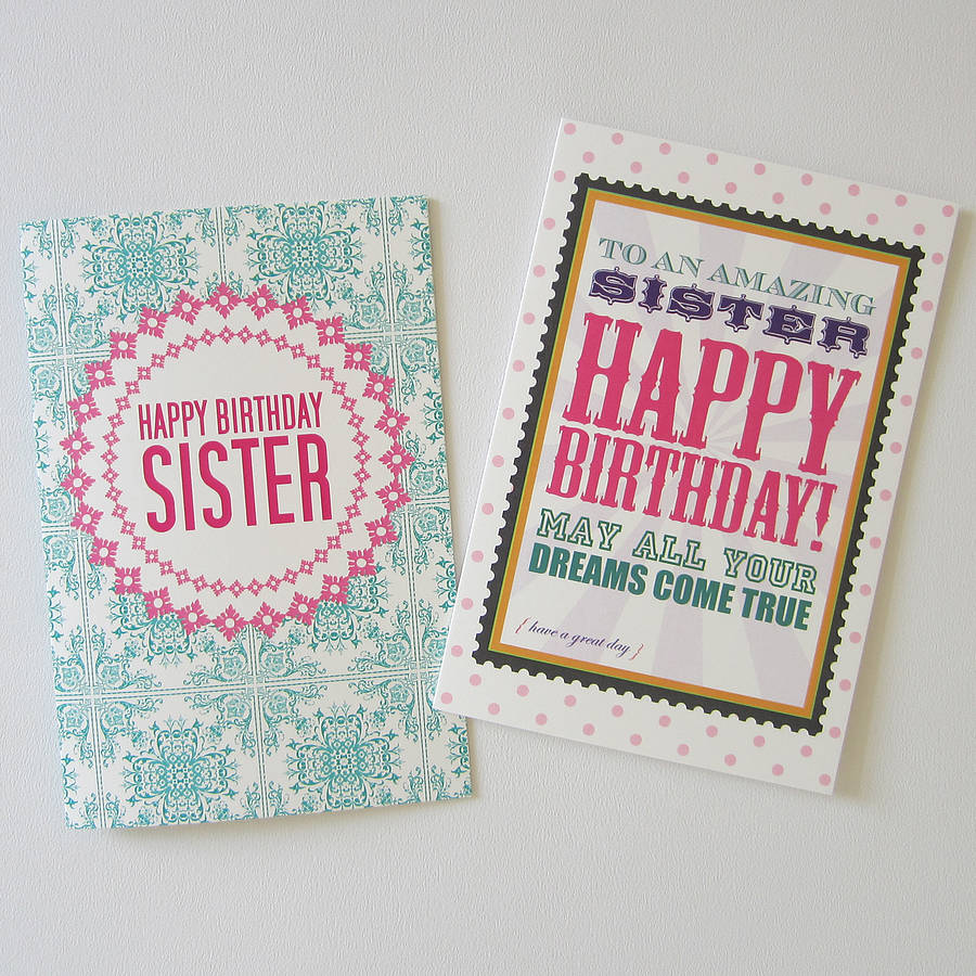 sister birthday card by dimitria jordan  notonthehighstreet, Birthday card