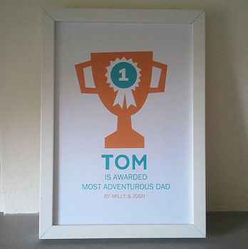 Personalised Fathers Day Trophy Print