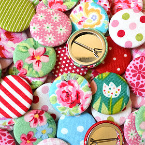 Handmade Patterned Girls Badges - jewellery sale