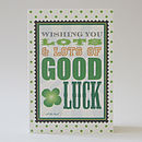 Good Luck polka dot background greeting card