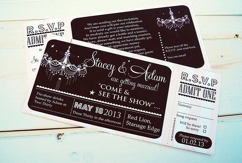 theatre ticket invitation by sweet words stationery – Theatre Ticket Wedding Invitations