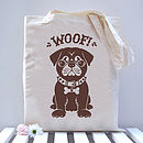 Pug dog tote brown option
