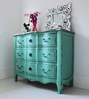 Vintage Style Turquoise Chest Of Drawers