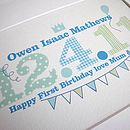 First Birthday Typographic Date print