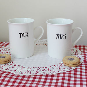 Personalised 'Mr' And 'Mrs' Moustache Mugs