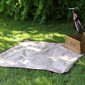 Pink Polka Dot Picnic Blanket - outdoor living