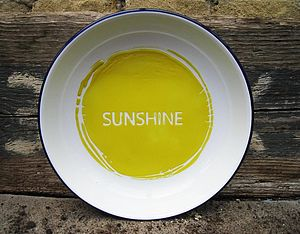 Hand Painted 'Sunshine' Enamel Plate - crockery & chinaware