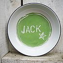 Personalised Hand Painted Enamel Name Plate: green, star