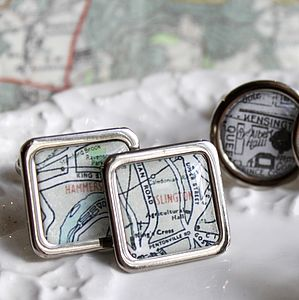 London Vintage Map Cufflinks - men's jewellery