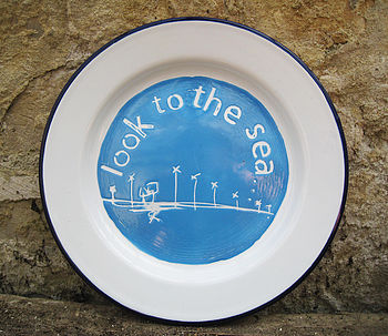 Hand Painted 'Look To The Sea' Enamel Plate