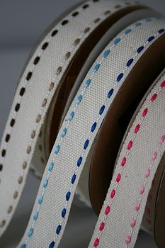 Duo Stitch Linen Ribbon 10M - Brown, Blue and Pink