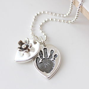 Personalised Handprint Silver Petal Necklace - personalised jewellery