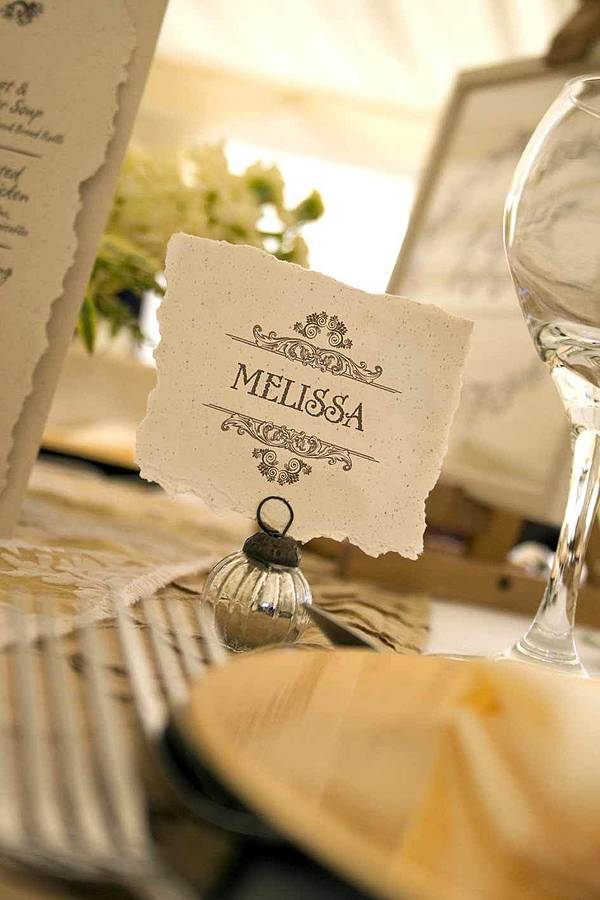 Vintage style wedding table place card by solographic art for Place card for wedding