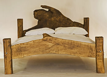 Rustic Handmade King-Size Wooden Bed