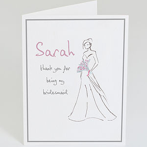 Personalised 'Thank You Bridesmaid' Card - wedding stationery