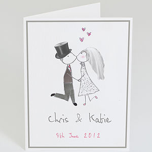 Personalised Bride And Groom Wedding Card - wedding cards & wrap