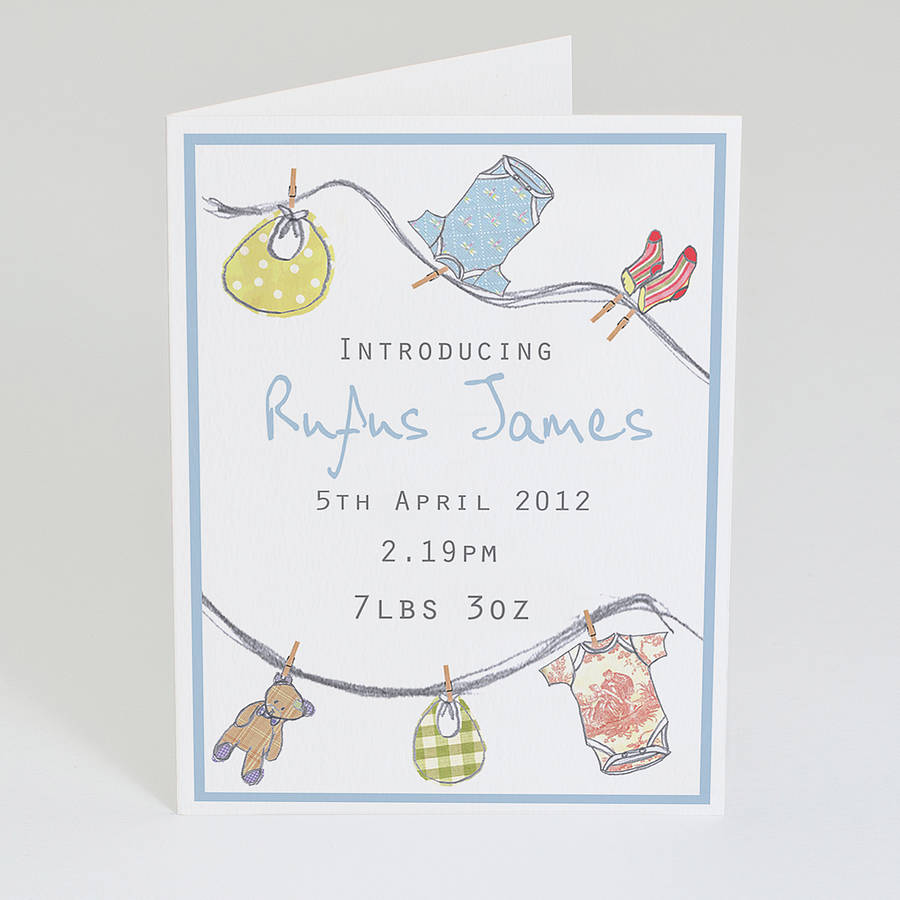 personalised new baby announcement cards by violet pickles