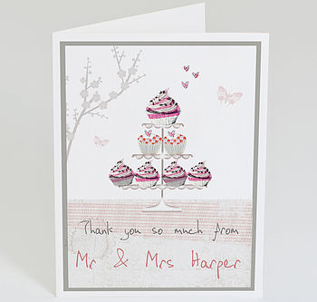 Personalised Vintage Cupcake Thank You Card