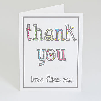 Personalised 'Thank You' Heart Card