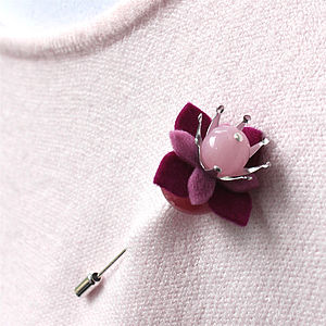 Pointed Petal & Silver Plated Stick Pins - pins & brooches