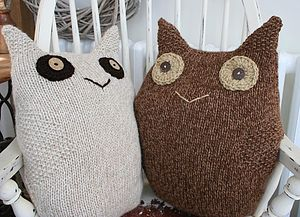 Knitted Alpaca Owl Cushion - baby's room