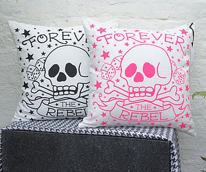 'Forever the Rebel' Tattoo Print Cushion - gifts for teenagers