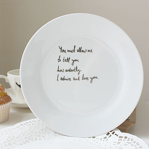 Personalised Hand Drawn Mr Darcy Plate - dining room