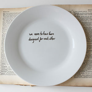 Personalised Pride And Prejudice Quote Plate - crockery & chinaware