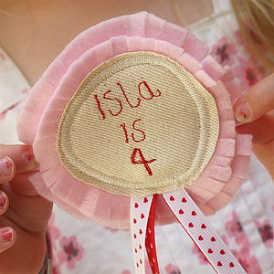 Birthday Fabric Rosette Badge Personalised - gifts for children