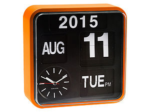 Orange Wall Flip Clock - living room