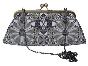 Elastic Pearl Digital Print Large Silk Handbag - purses & wallets