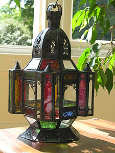 Small Moroccan Lamp With Multicoloured Glass