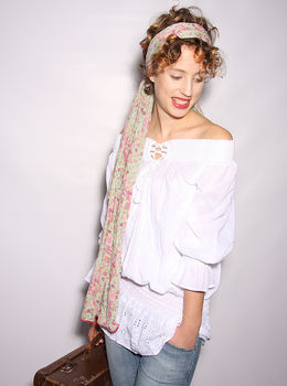 Gypsy Top in white broderie anglaise