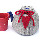 Pure Wool Heart Knitted Tea Cosy