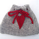 wool heart tea cosy flat front