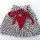 wool heart tea cosy flat front