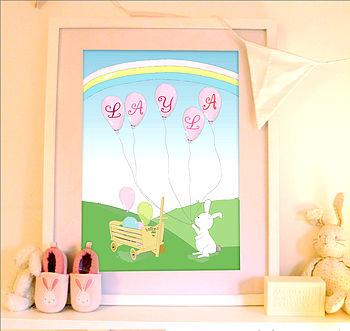 Personalised Rabbit Child Name Print