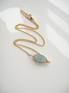 Gold Aquamarine Necklace - spring brights