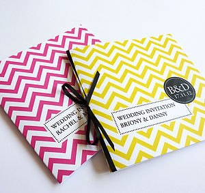 Chevron Personalised Wedding Stationery - invitations