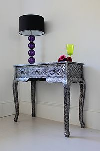 Silver Black Embossed Dressing Table - furniture