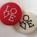 Oversized LOVE Cross Stitch Button Badge