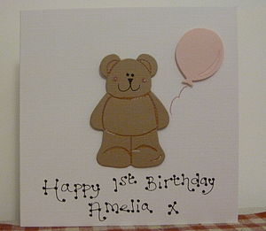 Personalised First Birthday Teddy Card - sale